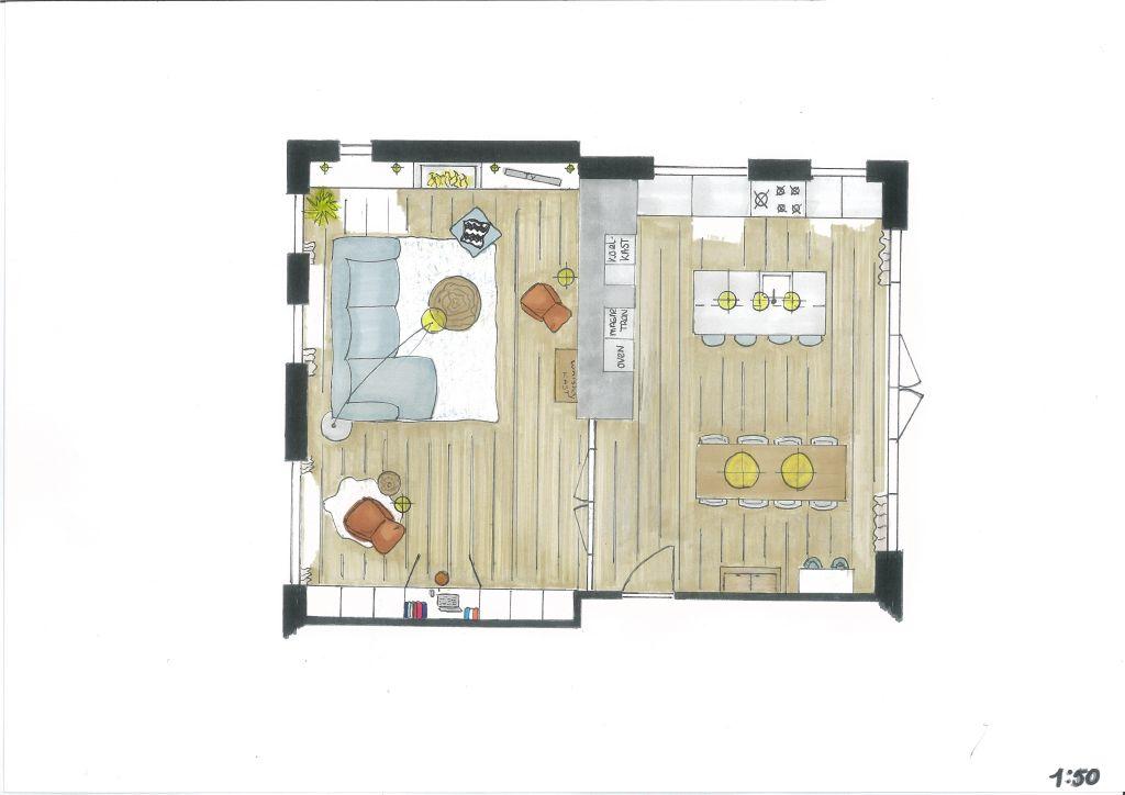 Ontwerp woonkamer & keuken Puiflijk - Huisstyling de Kleijn